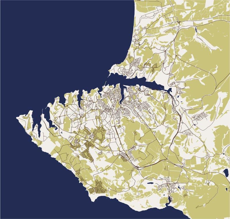 Χάρτης της πόλης της Σεβαστούπολης, Κριμαία απεικόνιση αποθεμάτων