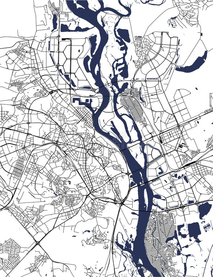 Χάρτης της πόλης του Κίεβου, Ουκρανία διανυσματική απεικόνιση
