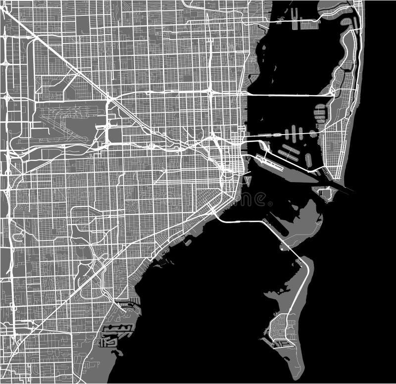 Χάρτης της πόλης του Μαϊάμι, ΗΠΑ διανυσματική απεικόνιση