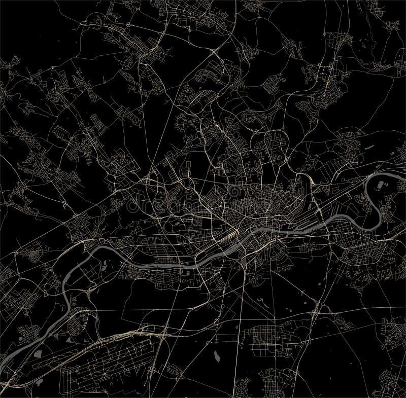 Χάρτης της πόλης της Φρανκφούρτης Αμ Μάιν, Hesse, Γερμανία απεικόνιση αποθεμάτων