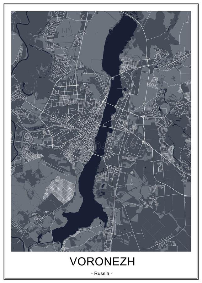 Χάρτης της πόλης Voronezh, Ρωσία ελεύθερη απεικόνιση δικαιώματος