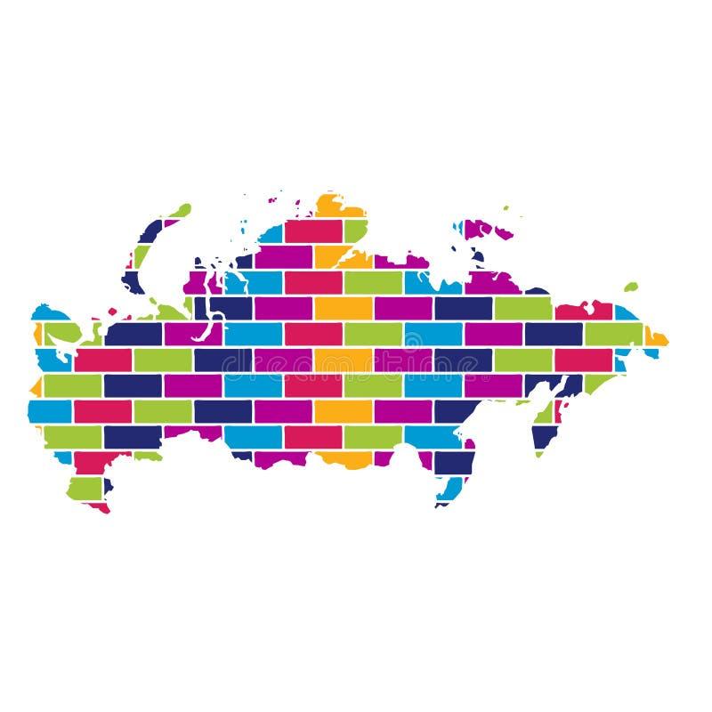 Χάρτης της Ρωσίας με το πολυ χρωματισμένο υπόβαθρο ύφους τούβλου ελεύθερη απεικόνιση δικαιώματος