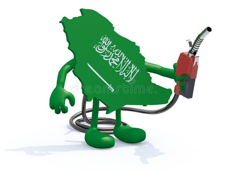 Χάρτης της Σαουδικής Αραβίας με την αντλία καυσίμων διανυσματική απεικόνιση