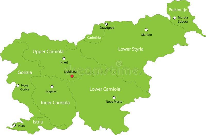 Χάρτης της Σλοβενίας διανυσματική απεικόνιση