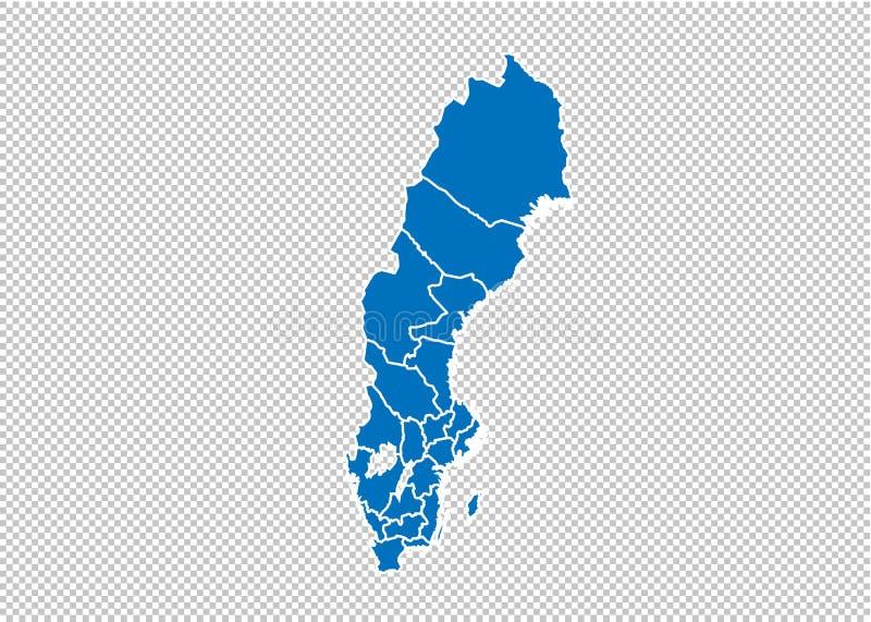 Χάρτης της Σουηδίας - υψηλός λεπτομερής μπλε χάρτης με τους νομούς/τις περιοχές/τις καταστάσεις της Σουηδίας χάρτης της Σουηδίας  διανυσματική απεικόνιση