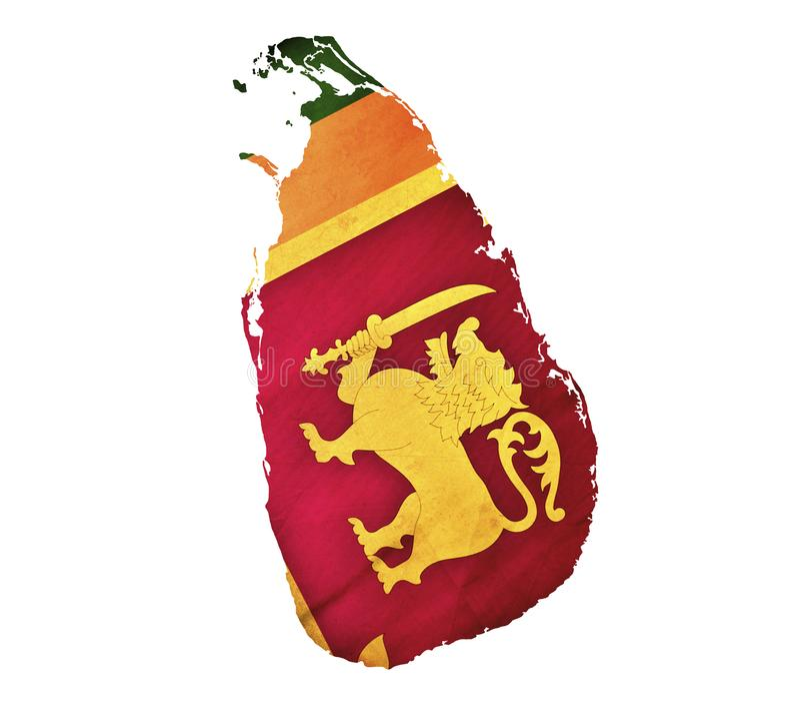 Χάρτης της Σρι Λάνκα που απομονώνεται στοκ εικόνα