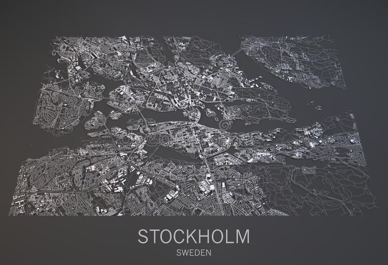 Χάρτης της Στοκχόλμης, Σουηδία, δορυφορική άποψη ελεύθερη απεικόνιση δικαιώματος