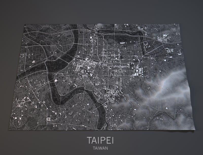 Χάρτης της Ταϊπέι, δορυφορική άποψη, Ταϊβάν, τρισδιάστατη ελεύθερη απεικόνιση δικαιώματος