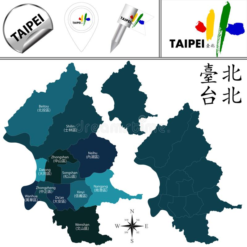 Χάρτης της Ταϊπέι, Ταϊβάν με τις περιοχές απεικόνιση αποθεμάτων