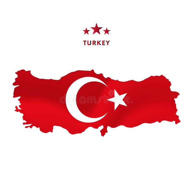 Χάρτης της Τουρκίας με την κυματίζοντας σημαία επίσης corel σύρετε το διάνυσμα απεικόνισης διανυσματική απεικόνιση