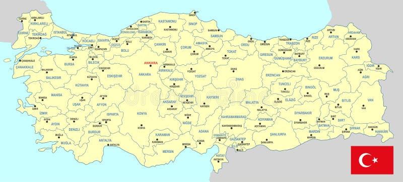 Χάρτης της Τουρκίας ελεύθερη απεικόνιση δικαιώματος