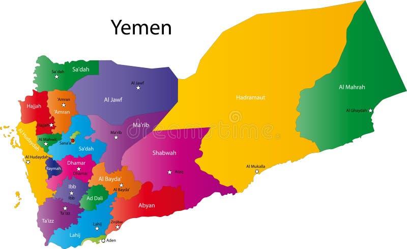 Χάρτης της Υεμένης διανυσματική απεικόνιση