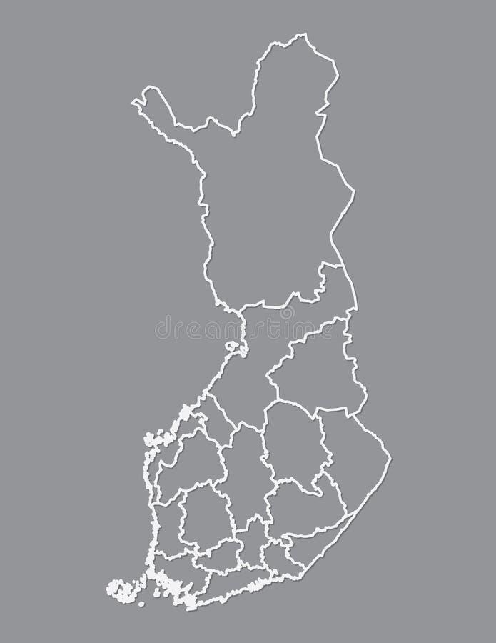 Χάρτης της Φινλανδίας με τις διαφορετικές περιοχές που χρησιμοποιούν τις άσπρες γραμμές στο σκοτεινό διάνυσμα υποβάθρου διανυσματική απεικόνιση