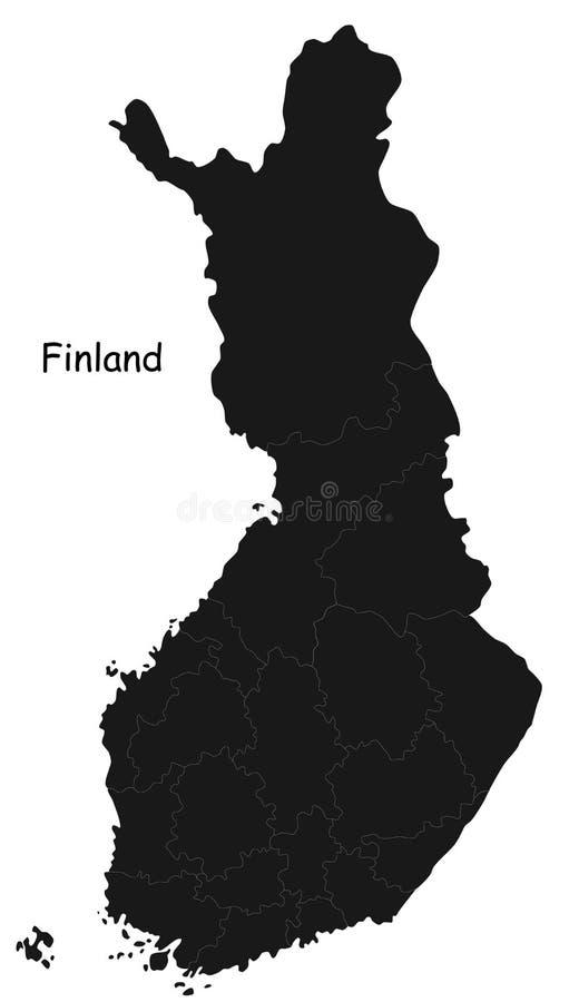 Χάρτης της Φινλανδίας διανυσματική απεικόνιση