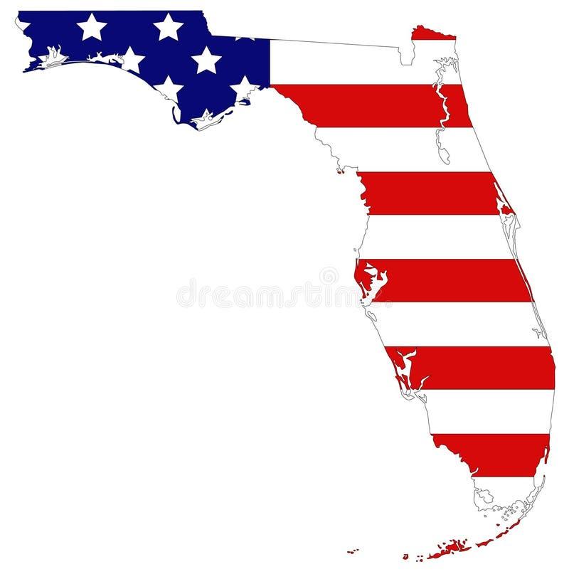 Χάρτης της Φλώριδας με ΑΜΕΡΙΚΑΝΙΚΗ σημαία - πιό νοτηότατο παρακείμενο κράτος στις Ηνωμένες Πολιτείες ελεύθερη απεικόνιση δικαιώματος