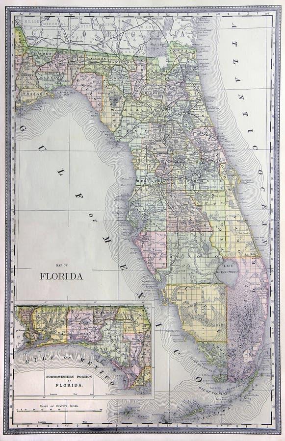 χάρτης της Φλώριδας παλαιό στοκ εικόνα με δικαίωμα ελεύθερης χρήσης