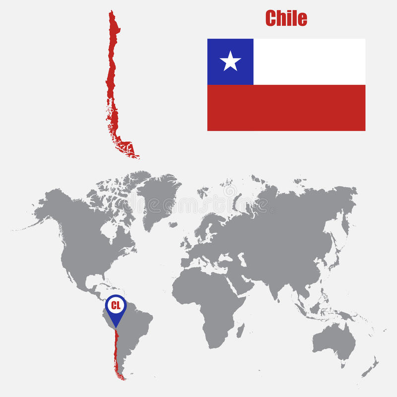 Χάρτης της Χιλής σε έναν παγκόσμιο χάρτη με το δείκτη σημαιών και χαρτών επίσης corel σύρετε το διάνυσμα απεικόνισης διανυσματική απεικόνιση