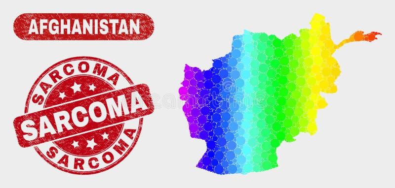 Χάρτης του Αφγανιστάν μωσαϊκών φάσματος και γραμματόσημο σαρκωμάτων Grunge απεικόνιση αποθεμάτων