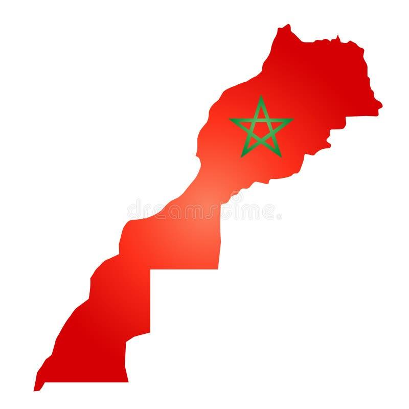 Χάρτης του βασίλειου του Μαρόκου διανυσματική απεικόνιση