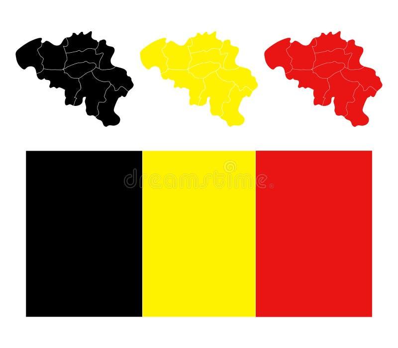 Χάρτης του Βελγίου με τις περιοχές διανυσματική απεικόνιση