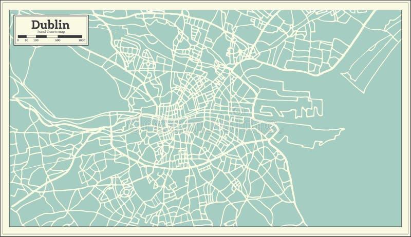 Χάρτης του Δουβλίνου Ιρλανδία στο αναδρομικό ύφος ελεύθερη απεικόνιση δικαιώματος