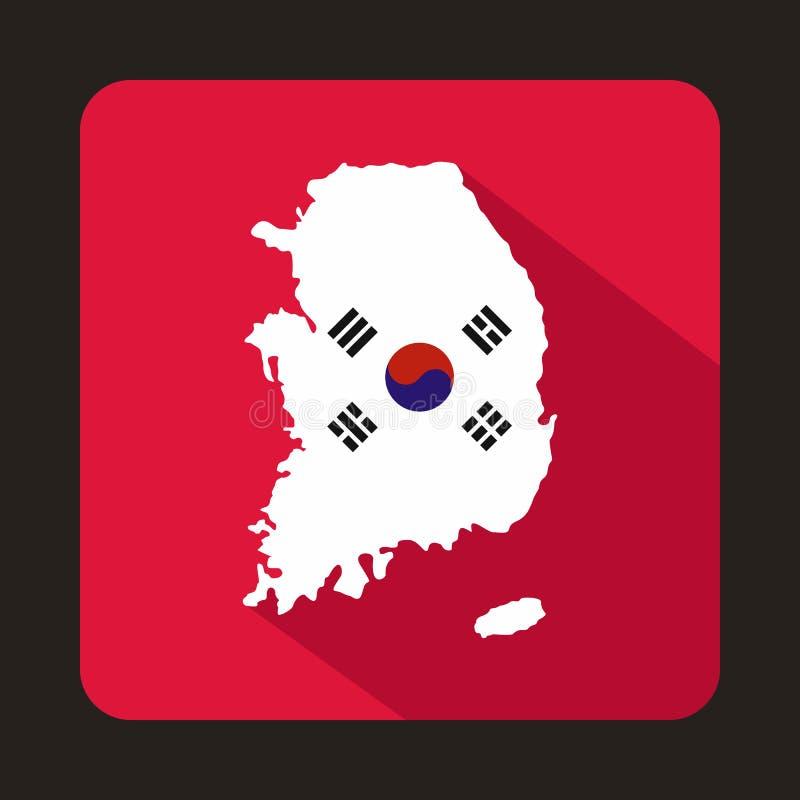 Χάρτης του εικονιδίου της Νότιας Κορέας, επίπεδο ύφος απεικόνιση αποθεμάτων