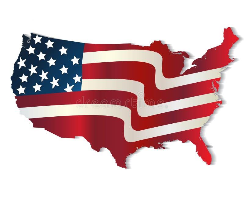 Χάρτης του ζωηρού λογότυπου χρωμάτων των Ηνωμένων Πολιτειών της Αμερικής απεικόνιση αποθεμάτων
