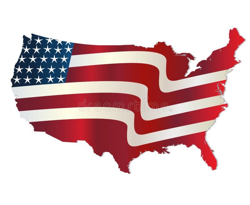 Χάρτης του ζωηρού λογότυπου χρωμάτων των Ηνωμένων Πολιτειών της Αμερικής διανυσματική απεικόνιση
