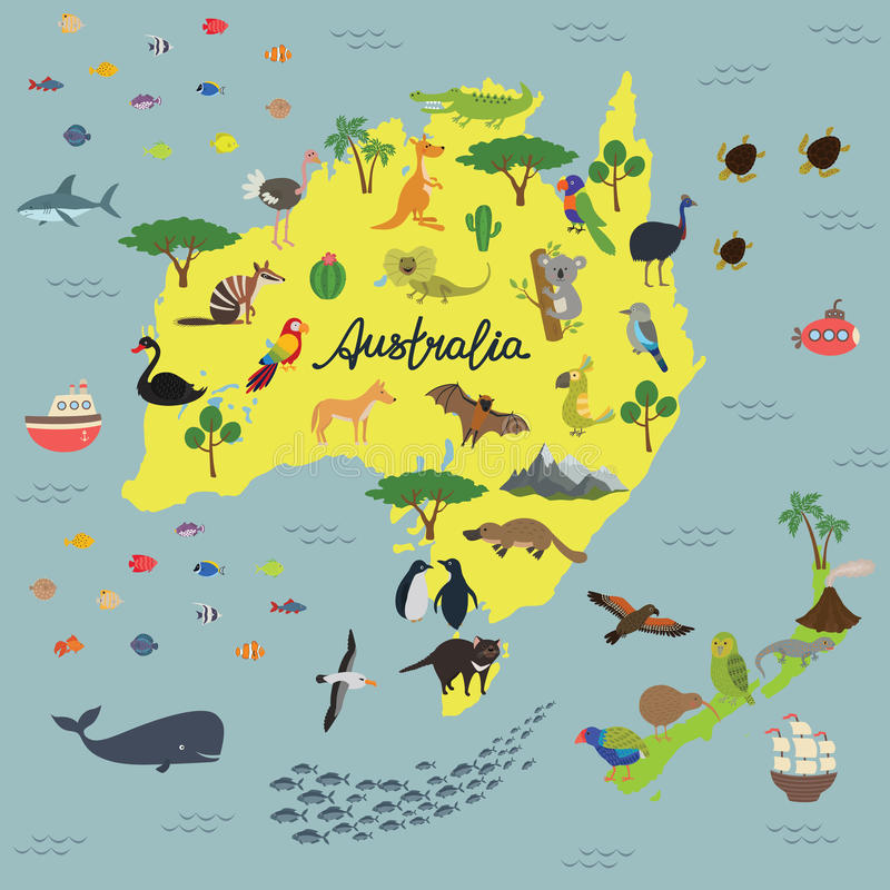 Χάρτης του ζωικού βασίλειου της Αυστραλίας και της Νέας Ζηλανδίας διανυσματική απεικόνιση