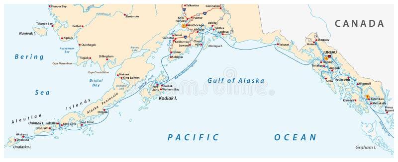Χάρτης του θαλάσσιου συστήματος εθνικών οδών της Αλάσκας, πορθμείο, Ηνωμένες Πολιτείες διανυσματική απεικόνιση