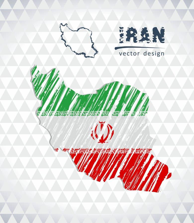 Χάρτης του Ιράν με σχεδιαζόμενο το χέρι χάρτη μανδρών σκίτσων μέσα επίσης corel σύρετε το διάνυσμα απεικόνισης ελεύθερη απεικόνιση δικαιώματος