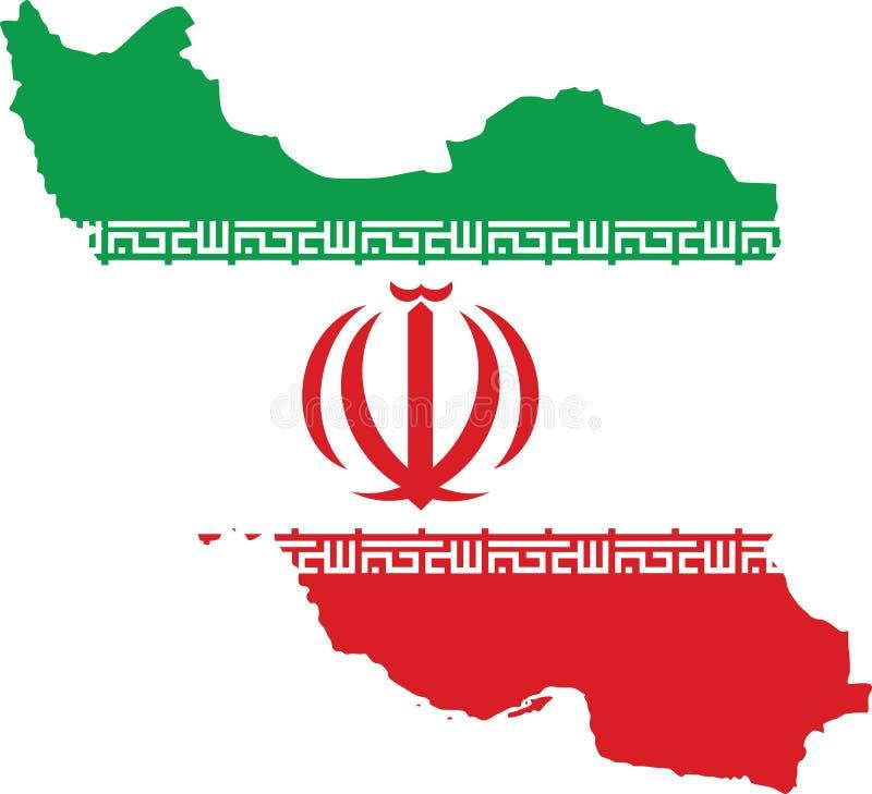 Χάρτης του Ιράν με τη σημαία μέσα διανυσματική απεικόνιση