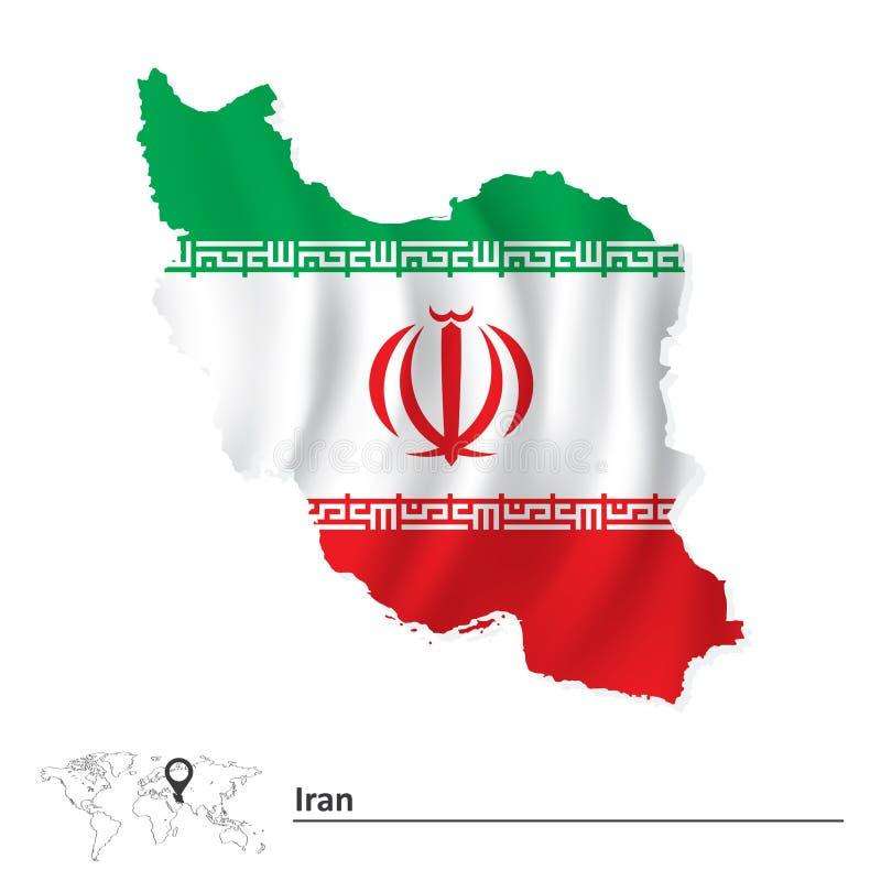 Χάρτης του Ιράν με τη σημαία διανυσματική απεικόνιση