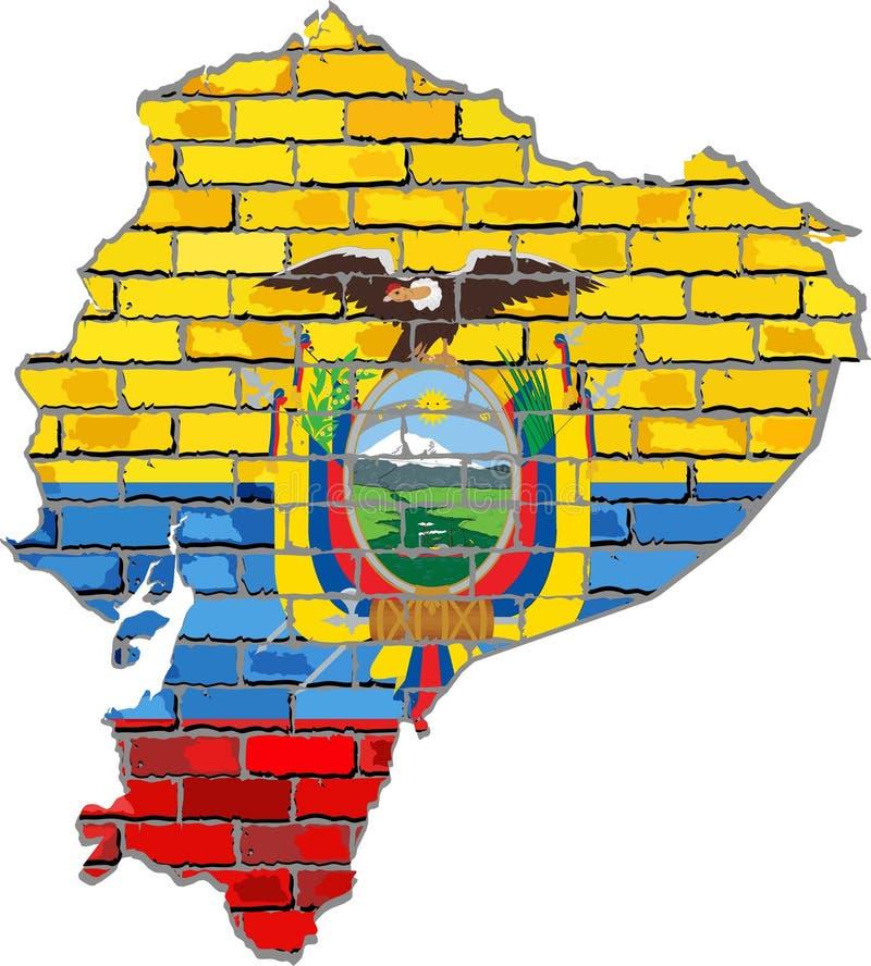 Χάρτης του Ισημερινού σε έναν τουβλότοιχο διανυσματική απεικόνιση