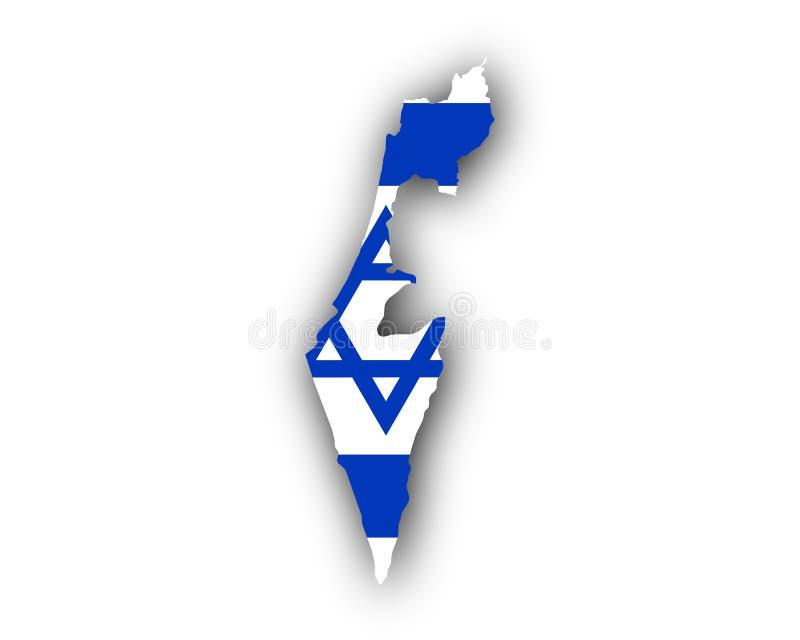 χάρτης του Ισραήλ σημαιών απεικόνιση αποθεμάτων