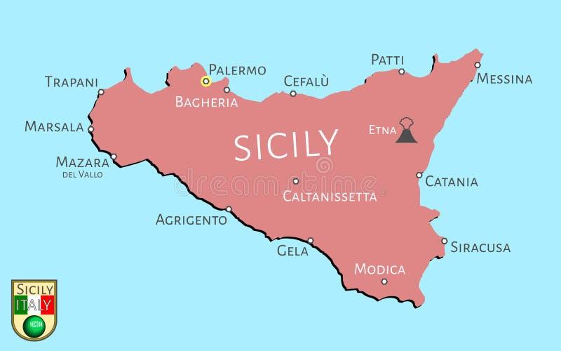 Χάρτης του ιταλικού νησιού της Σικελίας ελεύθερη απεικόνιση δικαιώματος