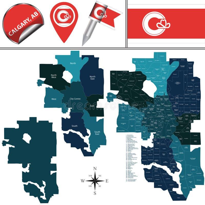 Χάρτης του Κάλγκαρι με τις γειτονιές απεικόνιση αποθεμάτων