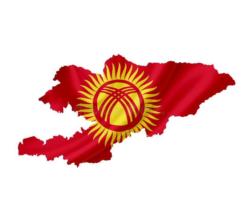 Χάρτης του Κιργιστάν με την κυματίζοντας σημαία που απομονώνεται στο λευκό στοκ φωτογραφία με δικαίωμα ελεύθερης χρήσης