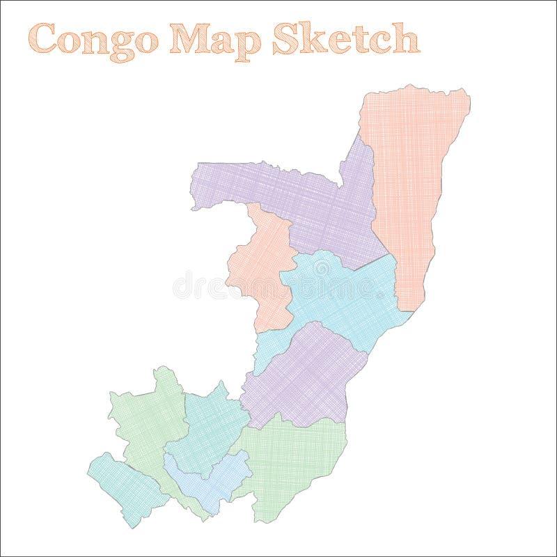 χάρτης του Κογκό διανυσματική απεικόνιση
