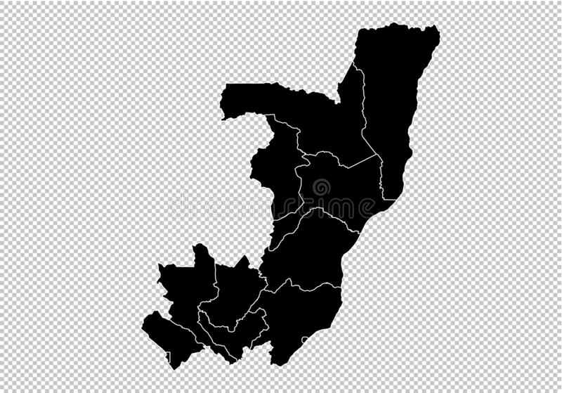 Χάρτης του Κονγκό - υψηλός λεπτομερής μαύρος χάρτης με τους νομούς/τις περιοχές/τις καταστάσεις του Κογκό Χάρτης του Αφγανιστάν π ελεύθερη απεικόνιση δικαιώματος