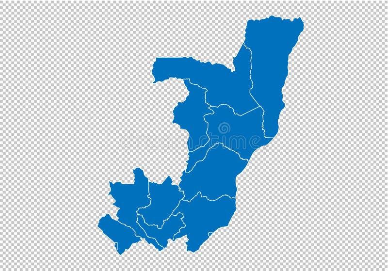 Χάρτης του Κονγκό - υψηλός λεπτομερής μπλε χάρτης με τους νομούς/τις περιοχές/τις καταστάσεις του Κογκό χάρτης του Κογκό που απομ ελεύθερη απεικόνιση δικαιώματος
