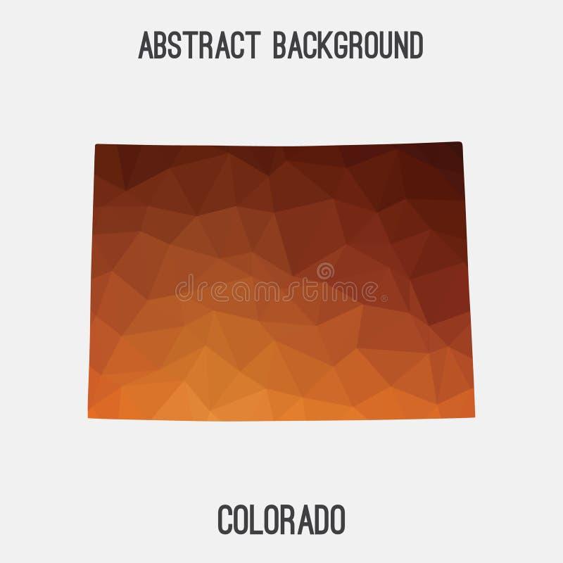 Χάρτης του Κολοράντο γεωμετρικός polygonal, ύφος μωσαϊκών απεικόνιση αποθεμάτων