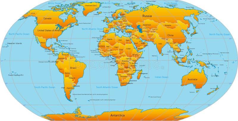 Χάρτης του κόσμου διανυσματική απεικόνιση