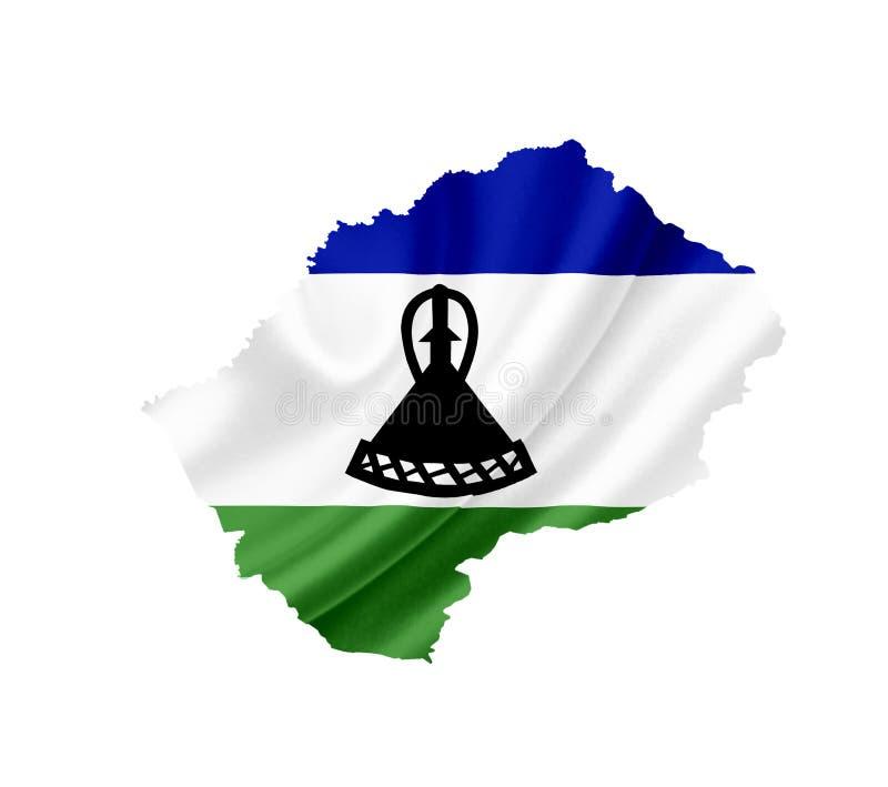 Χάρτης του Λεσόθο με την κυματίζοντας σημαία που απομονώνεται στο λευκό στοκ φωτογραφία με δικαίωμα ελεύθερης χρήσης