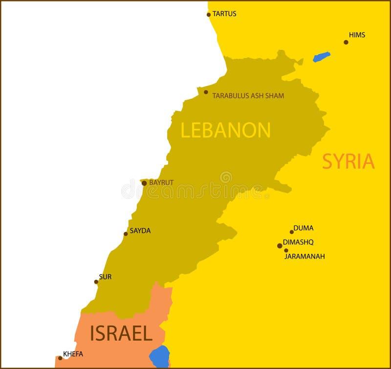 χάρτης του Λιβάνου διανυσματική απεικόνιση