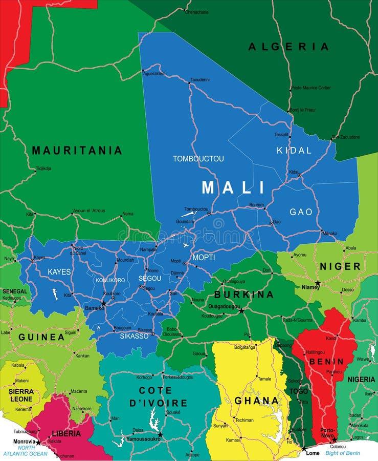 Χάρτης του Μαλί ελεύθερη απεικόνιση δικαιώματος