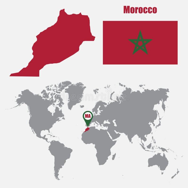 Χάρτης του Μαρόκου σε έναν παγκόσμιο χάρτη με το δείκτη σημαιών και χαρτών επίσης corel σύρετε το διάνυσμα απεικόνισης απεικόνιση αποθεμάτων