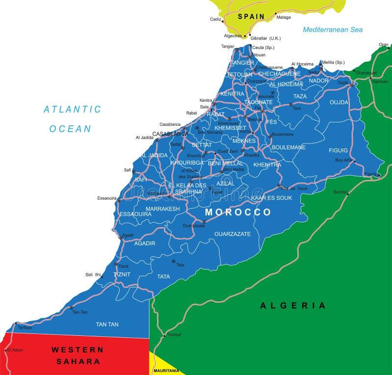 Χάρτης του Μαρόκου διανυσματική απεικόνιση