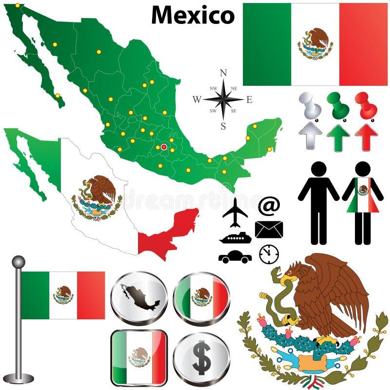 Χάρτης του Μεξικού με τις περιοχές διανυσματική απεικόνιση