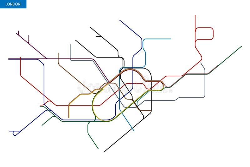χάρτης του Μετρό του Λονδίνου απεικόνιση αποθεμάτων